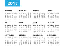 Calendar for 2017 year. Isolated on a white background. Week starts monday. Vector design template Royalty Free Stock Images