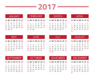 Calendar 2017 year. Isolated on a white background. Week starts sunday. Vector design template Royalty Free Stock Images