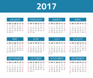 Calendar 2017 year. Isolated on a white background. Week starts sunday. Vector design template Stock Illustration