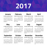 Calendar 2017 year. Isolated on a white background. Week starts sunday. Vector design template Stock Photo