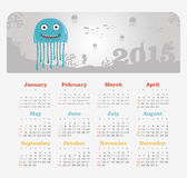 Calendar 2015 year with jellyfish Royalty Free Stock Photography