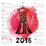Calendar 2016 year.Lettering.Dress Silhouette. Calendar 2016 year.Typography Dress Design,watercolor splash.Lettering in Silhouette of  little black dress,quotes Stock Images