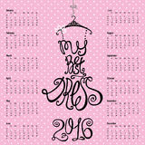Calendar 2016 year.Lettering in dress Silhouette. Calendar 2016 year.Typography Dress Design.Lettering in Silhouette of woman little black dress,quotes from Royalty Free Stock Image