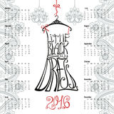 Calendar 2016 year.Lettering little Black Dress. Calendar 2016 year.Typography Dress Design,paisley border.Lettering in Silhouette of  little black dress,quotes Royalty Free Stock Image
