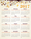 Calendar for 2017 year with lily Stock Images