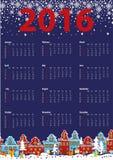 Calendar 2016 year.Little town,winter night Royalty Free Stock Photos