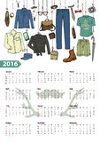 Calendar 2016 year.Male fashion set.Colored. Fashion illustration.Calendar 2016 new year.Vector hand drawn fashionable male clothes and accessories hanging on stock illustration