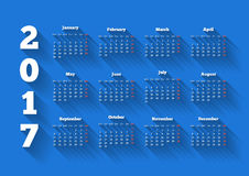 Calendar on 2017 year in modern flat design style with long shadow. And week starting from monday on blue background, A4 sheet size vector illustration