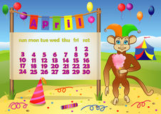 Calendar 2016 year with Monkey. April Stock Photo