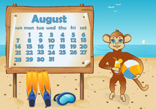 Calendar 2016 year with Monkey. August Royalty Free Stock Image
