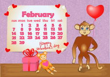 Calendar 2016 year with Monkey. February Stock Photos