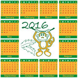 Calendar 2016 year of monkey. Illustration of a calendar by month for 2016 year of the monkey Royalty Free Stock Photos