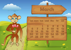 Calendar 2016 year with Monkey. March Royalty Free Stock Photo