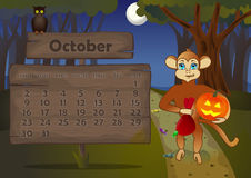Calendar 2016 year with Monkey. Octover Royalty Free Stock Images