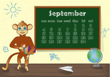 Calendar 2016 year with Monkey. September Royalty Free Stock Images