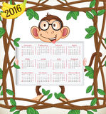 Calendar 2016-Year of the monkey. 2016 Year of the Monkey calendar in us style, start on sunday, each month with individual table vector illustration