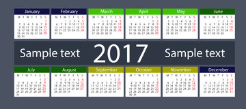 Calendar on 2017 year Stock Photo