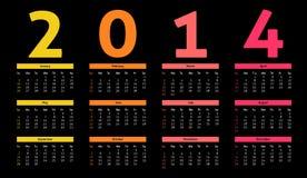 2014 calendar. 2014 year calendar in neon - dark style Stock Image