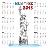 Calendar 2016 year.New york doodle.Statue of. Calendar 2016 New year.New York.American symbols Statue of Liberty,lettering in doodle hand drawn sketch Vector Illustration