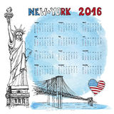Calendar 2016 year.New york doodle,Watercolor. Calendar 2016 New year.New York.American symbols Statue of Liberty,Brooklyn Bridge, flag in doodle hand drawn Stock Illustration