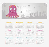 Calendar 2015 year with octopus. Vector, eps 10 royalty free illustration