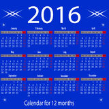 Calendar for 2016 year. Organizer scheduler year seasonally annuitant plan-chart of green newly Royalty Free Stock Image