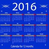 Calendar for 2016 year. Organizer scheduler year seasonally annuitant plan-chart of green newly royalty free illustration
