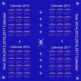 Calendar for 2014,2015,2016,2017 year Stock Photo