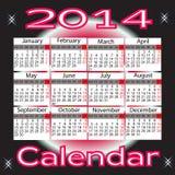 Calendar for 2014 year. Organizer scheduler year seasonally annuitant plan-chart of green newly vector illustration