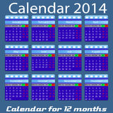 Calendar for 2014 year Royalty Free Stock Photo