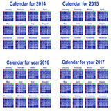 Calendar for 2014,2015,2016,2017  year. Royalty Free Stock Images