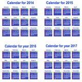 Calendar for 2014,2015,2016,2017 year. Organizer scheduler year seasonally annuitant plan-chart of green newly vector illustration