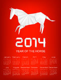 Calendar for the year 2014. Origami horse.tor. Stock Photo