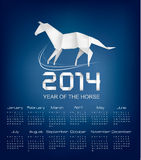 Calendar for the year 2014. Origami horse. Stock Photos