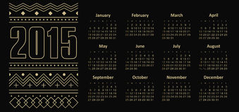 Calendar 2015 year with ornament Royalty Free Stock Photography