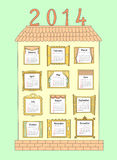 Calendar for the year 2014. A painted house with Windows. Royalty Free Stock Images