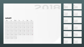 Calendar Of 2018 Year Planner Design Template. A4 Calendar Of 2018 Year Planner Design Template. EPS10 Vector Royalty Free Stock Photography