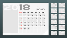 Calendar Of 2018 Year Planner Design Template Royalty Free Stock Photo
