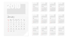 Calendar Of 2018 Year Planner Design Template. A4 Calendar Of 2018 Year Planner Design Template. EPS10 Vector Stock Photo