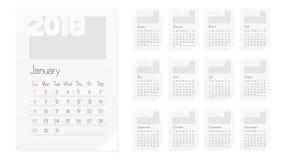 Calendar Of 2018 Year Planner Design Template Stock Photo