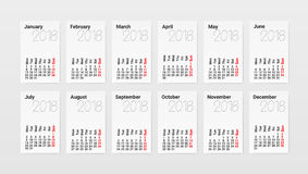 Calendar Of 2018 Year Planner Design Template. A4 Calendar Of 2018 Year Planner Design Template. EPS10 Vector Royalty Free Stock Photo