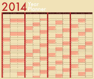 2014 Calendar. Year Planner. Week starts on Sunday royalty free illustration