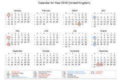 Calendar of year 2018 with public holidays and bank holidays for. United Kingdom stock illustration