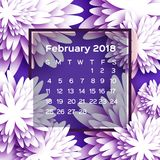 Calendar 2018 year. Purple February. Origami flower. Paper cut style. Week starts from sunday. Winter floral background. Square frame. Text. Vector Royalty Free Stock Photos