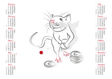 Calendar 2020 The Year of the Rat. Calendar 2020 in vector isolated on white background. The Year of the Rat. Week starts from sunday royalty free illustration