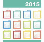 Calendar 2015 year with rectangles. The modern calendar 2015 year with rectangles vector, eps 10 Royalty Free Stock Images