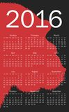 Calendar for 2016 Stock Photography