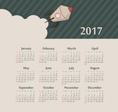 Calendar 2017 year with rocket. Week Starts Sunday. Modern vector Calendar 2017 year with rocket. Week Starts Sunday, eps 10 Stock Image