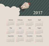 Calendar 2017 year with rocket. Week Starts Sunday. Modern vector Calendar 2017 year with rocket. Week Starts Sunday, eps 10 royalty free illustration