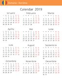 Calendar 2019 year for Romania country vector illustration